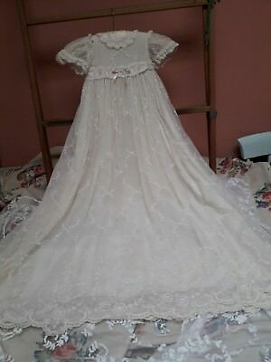Antique 1930 Lace Christening Gown Dress Silk Baby Doll Original Vintage