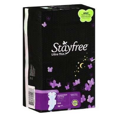 stayfree Ultra Thin Overnight Pads with Wings, 28 count