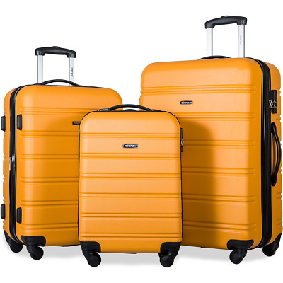 Merax 3 Pcs Luggage ABS Travel Set Expandable Lightweight Spinner Suitcase