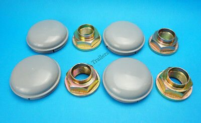 4 x GREY 76mm Wheel Hub Caps & Stake Nuts for Twin Axle IFOR WILLIAMS Trailer