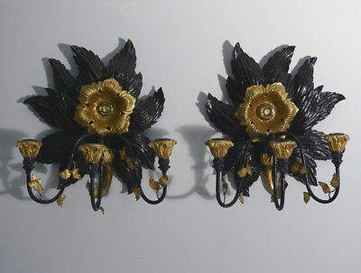 Impressive pr of sunflower gilt wood triple arm candle sconces c1900 hand carved