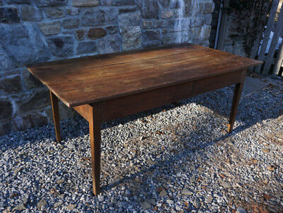 LG Antique New England farmhouse table solid cherry c1800 straight tapered legs