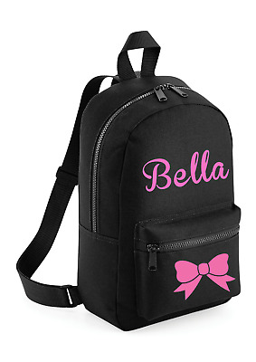 Personalised Girls Bow Pink Glitter Toddler Kids Childs Back Pack Back To School