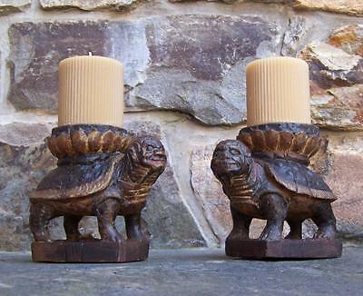 Antique Pr 17thc Asian carved wood turtle candle holders in paint hand carved