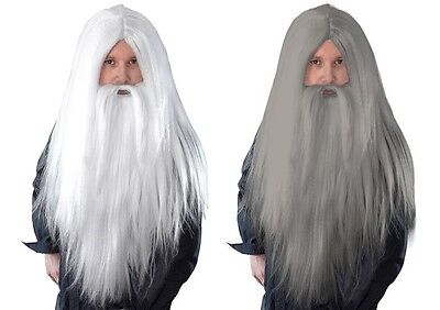 Medieval Merlin Gandalf Fancy Dress Costume LONG GREY WHITE WIZARD WIG and BEARD
