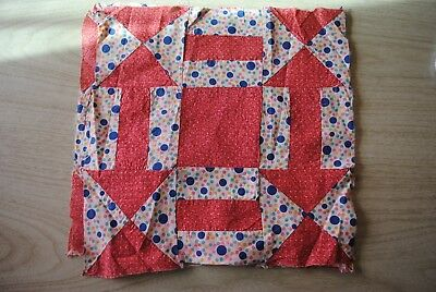 3 pretty 1920's Geometric quilt blocks, double pink and bubbles!