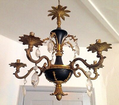 Vintage Hollywood Regency French Baroque Gilt Brass 5 Arm Chandelier Light