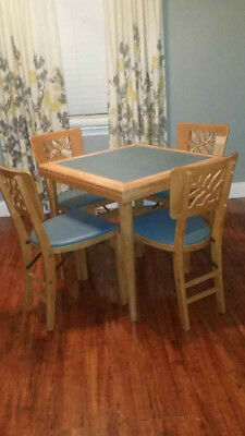 Vintage Stakmore Card Table and Folding Chairs