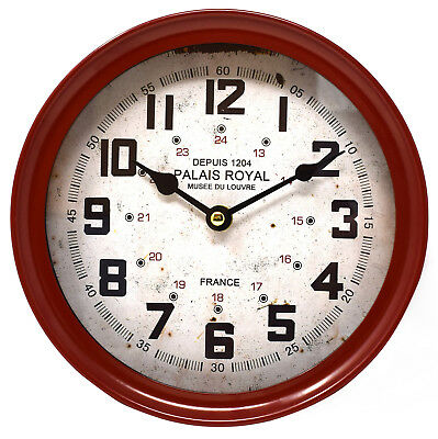 Palais Royal Red Wall Clock Industrial Deep Case Metal Vintage Retro 22cm Quartz