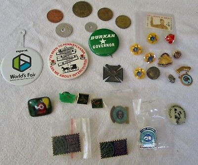 Mixed Lot of Vintage Collectible Pins, Buttons, Pinbacks, and Tokens