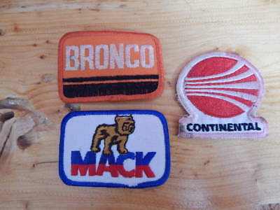 Lot of 3 Vintage 1980s Logo Patches-Mack Truck, Bronco, Continental Airline-RARE