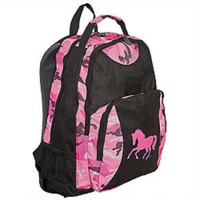 Pink Black Camo Galloping Horse Backpack