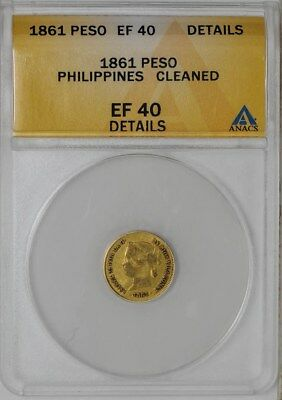 1861 Philippines Gold Peso EF40 Details ANACS