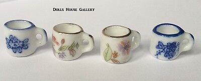 Set Of Four Floral Mugs, Dolls House Miniature Cups Mugs Accessory 1.12 Scale