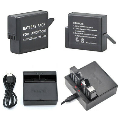 AHDBT-501 Li-ion Battery / USB Dual Charger for GoPro HERO 6 HERO 5 Black Camera