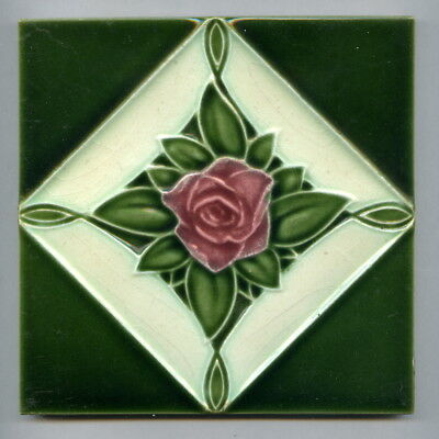 "Relief moulded 6"" square Art Deco tile by H&R Johnson, 1925"