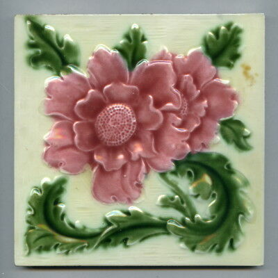 "Relief moulded 6"" square floral tile by H&R Johnson, 1925"