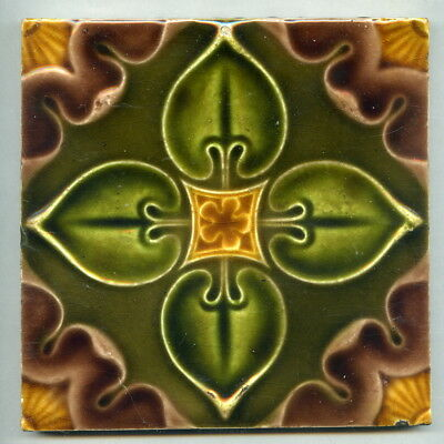 "Restored relief moulded 6"" square Art Nouveau tile by Henry Richards, c1905"