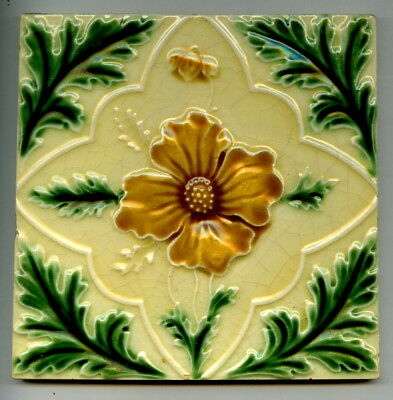"Relief moulded 6"" square Art Nouveau tile by Rhodes Tile Co, c1905"