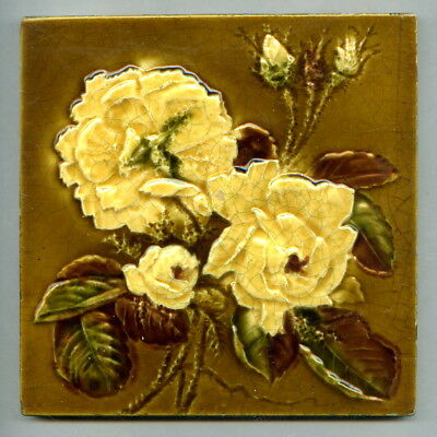 "Relief moulded 6"" square Art Nouveau tile by Sherwin & Cotton, c1905"