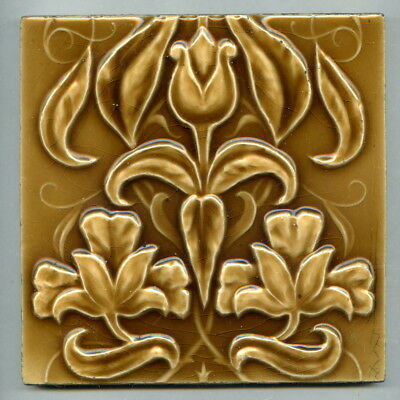 "Relief moulded 6"" square Art Nouveau tile by Sherwin & Cotton, c1900"