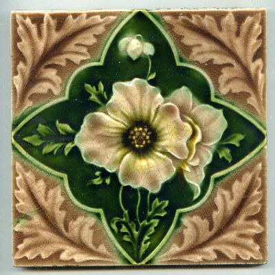 "Relief moulded 6"" square Art Nouveau tile by T&R Boote, c1900"