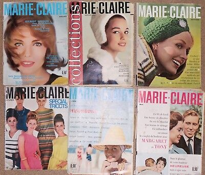 10 VINTAGE FRENCH MARIE CLAIRE MAGAZINES 1960's