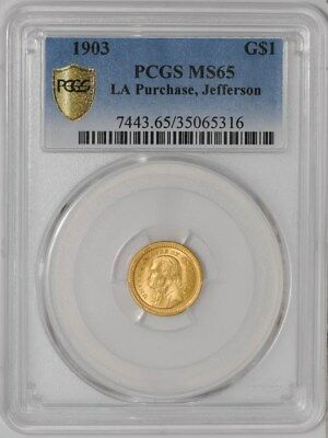 1903 $ Jefferson Gold Dollar LA Purchase #35065316 MS65 Secure Plus PCGS