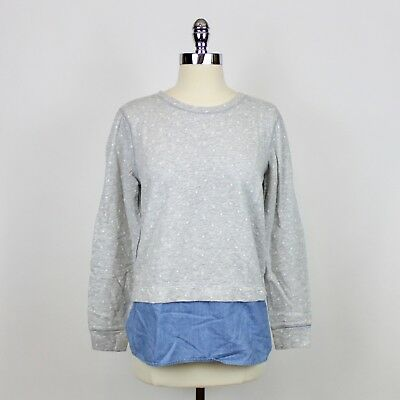 7dca2337 J.Crew Factory Womens Gray Blue Cotton Dotted Chambray Crewneck Sweatshirt  Sz S