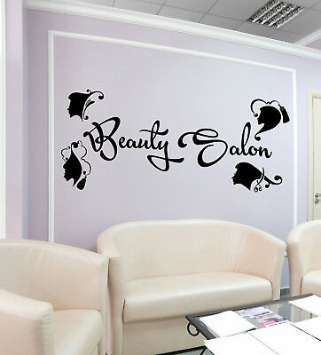 Vinyl Wall Decal Hairdressing Beauty Salon Logo Barbershop Stickers (2587ig)