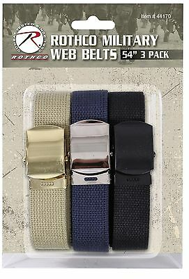 3 PACK - 100% Cotton Military Web Belts 54