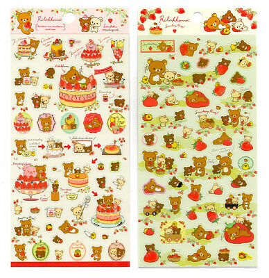 San-x Rilakkuma Secret Recipe Strawberry Seal Stickers Sticker Sheet LOT Japan