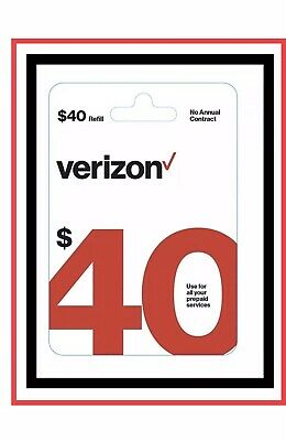 $40 Verizon Wireless Prepaid Service Refill Card (Fast Email Delivery )