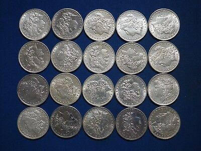 Roll of 20 Coins 1878-1904 Morgan Silver Dollars XF-AU Mix Dates