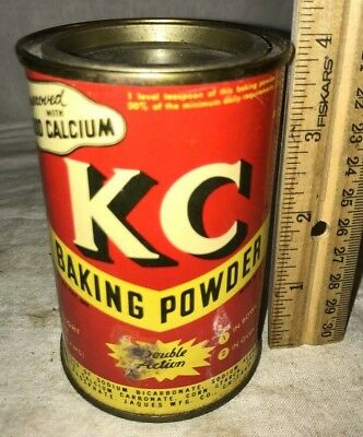 Antique Kc Baking Powder Tin Litho Can Vintage 8Oz Vintage Country Grocery Store