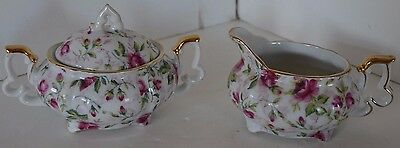 Vintage Lefton Pink Rose Chintz China Creamer Sugar