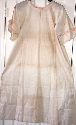 Vintage Antique Hand Made Cotton Nightgown Crochet Lace Embroidery ~Needs TLC