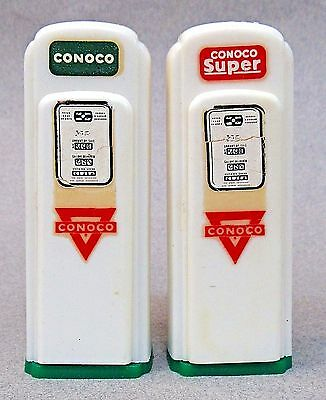 1950's CONOCO pair of matched GAS PUMP salt & pepper shakers set Humboldt Iowa *