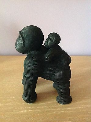 "Handmade Art Studio Pottery Ceramic Clay African Gorilla & Baby UGANDA 8"" high"