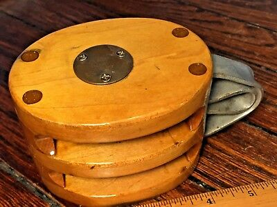 "Vintage Maple Double Block 6"" Long 2 1/2"" Sheaves Up To 7/16"" Line"