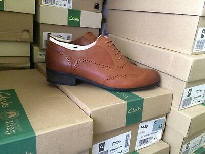 CLARKS HAMBLE OAK Women's Derby Dark Tan Leather Uk Size 7D Shoes. RRP £70.
