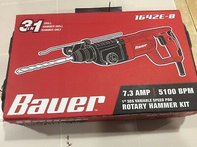Bauer 1 in. SDS Variable Speed Pro Rotary Hammer Kit