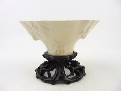 Antique Chinese Fujian Kiln Cup Moulded W/ Deer Dragon Plum Tree, Stand, 19th C
