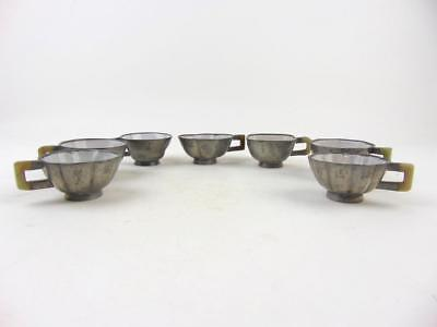 Large Set of 7 Antique Chinese Pewter Enameled Yixing  Cups, Inscribed, 19th C