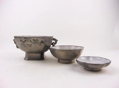 Three Antique Chinese Pewter Yixing Zisha Pot & Plates, Inscribed, 19th C
