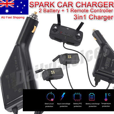 DJI Spark Car Charger Adapter for 2 Battery and 1 Remote Controller Charging USB