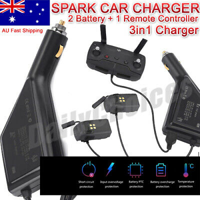 3 In 1 Car Charger Adapter for DJI Spark Drone 2 Battery & Remote Controller AU