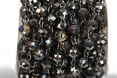 1yd Smoky Grey AB Crystal Rondelle Rosary Chain, gunmetal, 8mm beads fch0508a