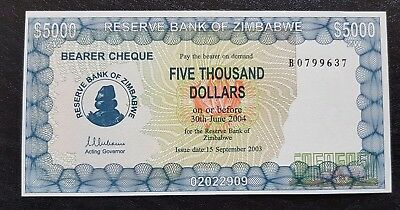 "Zimbabwe $5,000 Five Thousand Dollar Bearer Cheque, p21b, ""Prefix-B"" UNC"