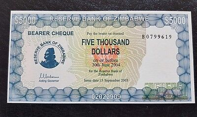 Zimbabwe $5,000 Five Thousand Dollar Bearer Cheque, p21b, ☆Prefix-B☆ UNC